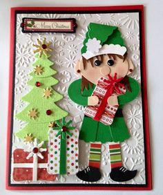 Girly Elf  christmas handmade card  by Wanda Perez