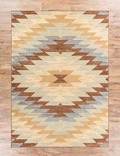 Navajo Medallion Blue 5x7 (5' x 7') Southwestern Transitional Casual Classic Thin Value Area Rug Perfect for Living Room Dining Room Family Room