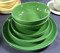 8 Pcs Forest Green Mid Century Cavitt Shaw Dinnerware | eBay