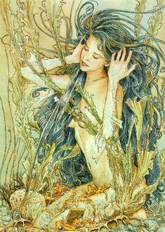 Ed Org, illustration (nymph, treasure) Magical Creatures, Fantasy Creatures, Sea Creatures, Fantasy Mermaids, Mermaids And Mermen, Real Mermaids, Alphonse Mucha, Water Nymphs, Illustration Art