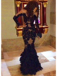 BLACK MERMAID LACE APPLIQUE LONG SLEEVED SEXY PROM DRESS 2017