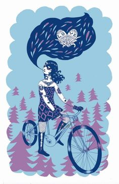 This is a limited edition Silkscreened print that I did for ArtCrank, a bicycle themed poster show. Its printed on an off-white cardstock. Cycle Chic, Bicycle Art, Silk Screen Printing, Various Artists, Artsy Fartsy, Card Stock, Parks, Love, Handmade Gifts