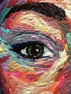 """On My Own"", self-portrait, embroidery by Julie Sarloutte Contemporary Embroidery, Modern Embroidery, Embroidery Art, Embroidery Stitches, Contemporary Art, Thread Painting, Thread Art, Yarn Painting, Portrait Embroidery"