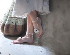 White Crochet Barefoot boho Sandals flower with beads gift by Muza