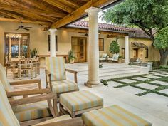 Gorgeous Santa Barbara style home in Texas - I could live on a patio like this! Don't think I'd ever go inside!