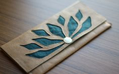 Lotus flower leather wallet