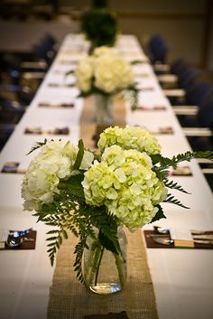 Burlap Runner- Hydrangea flower arrangements