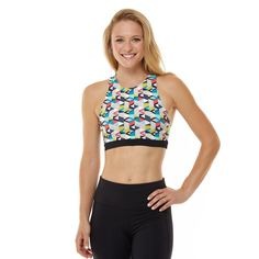2711dcd464e87 Move to your own beat with the geo printed Offbeat Bra. It s not only  fashionable with a high neckline