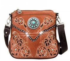 Caracol - Inspired Jewelry and Handbags - Montana West Floral Design | Concho Accented | Messenger Bag | Caracol, $59.00 (http://www.caracolsilver.com/montana-west-floral-design-concho-accented-messenger-bag-caracol/) #westernchic