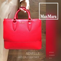 "Max Mara SS 2014 Collection: Max Mara ""Novella"" textured red calf leather handbag with shoulder strap.  Price on request."