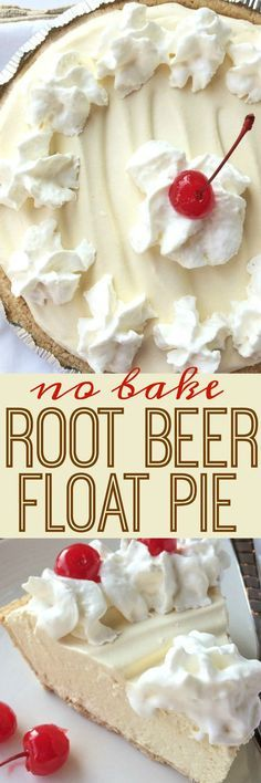 Food and Drink: Creamy, cool, light refreshing! This root beer float pie is the perfect treat on those hot sunny days. Only a few minutes of prep and then some freezer time and you have an easy, no bake pie that tastes EXACTLY like a root beer float! Beaux Desserts, 13 Desserts, Delicious Desserts, Dessert Recipes, Yummy Food, Pie Recipes, Easy Summer Desserts, Light Desserts, Easy No Bake Desserts