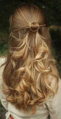 Open circle hair slide silver hair clip