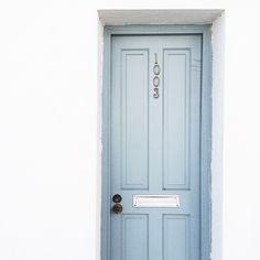 dusty blue door