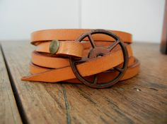 Leather Wrap Bracelet in Natural leather with copper buckle by Fullofcraft on etsy