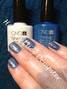 Asked to match a clients shrug (background of image) - CND shellac Blue Rapture with a layer of Ice Vapor to give some bling! Shellac Nail Colors, Shellac Nails, Polish Nails, Manicures, Creative Nail Designs, Creative Nails, French Nails, Shellac Layering, Nail Color Combos