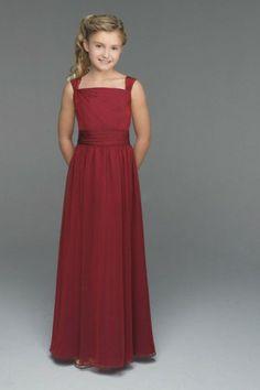 A-line Chiffon Burgundy Straps Long Junior Bridesmaid Dress(BTJB235) - not the colour obviously.