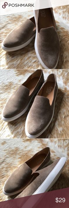Franco Sarto Slides REVISED LISTING!!! These are a Size 8! Lovely, stylish Franco Sarto slide on sneakers in soft, neutral suede. Super comfy with a pointy toe. Never worn outside. Franco Sarto Shoes Flats & Loafers