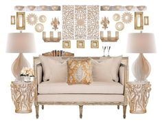 """""""Creamy"""" by bcurryrice on Polyvore featuring Tozai, Stanley Furniture, Safavieh, Home Decorators Collection, Troy, Varaluz, Lalique, Currey & Company, Dolan Designs and Arteriors"""