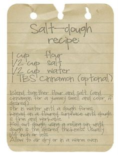 Salt Dough recipe for Christmas ornaments w/ the kids  To remember the recipe - Click image to find more Holidays & Events Pinterest pins