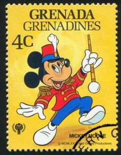 GRENADA - CIRCA stamp printed by Grenada, shows Walt Disney characters, Drum Major Mickey Mouse, circa 1979