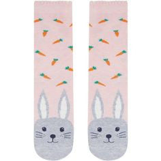 Accessorize Bobby Bunny Face Socks ($7) ❤ liked on Polyvore featuring intimates, hosiery, socks, ankle high socks, bunny socks and ankle high hosiery