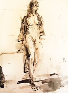 Figure Painting Watercolor Ink Wash Female by JohnKlineArtwork, $20.00