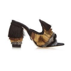 Sanayi 313 Cascata high-heel mules ($600) ❤ liked on Polyvore featuring shoes, black shoes, special occasion shoes, high heel mules, evening shoes and black evening shoes