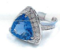 14kt White Gold Cast Tanzanite And Diamond Ring
