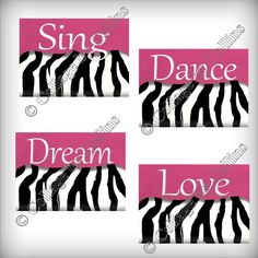 zebra print bedding for girls room | Zebra Print Wall Art Decor Sing Dance Dream by collagebycollins