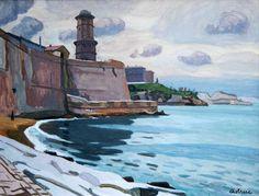 Fort St Jean ; Les Pierres Plates-Huile sur toile (75x54 cm)- Edmond Astruc