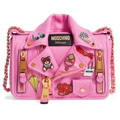 Women's Moschino Biker Jacket Shoulder Bag (¥215,120) ❤ liked on Polyvore featuring bags, handbags, shoulder bags, pink, moschino handbags, pink purse, shoulder handbags, chain crossbody and moschino purse