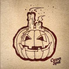 Halloween Ink - Inked art by Casper Spell. Pumpkin Jack-O-Lantern Candles (www.CasperSpell.com)
