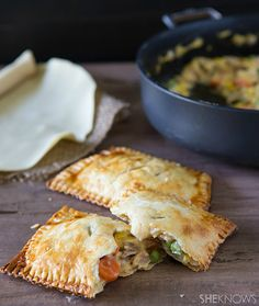Handheld chicken pot pie in a hot pocket. it's the best on-the-go lunch. Healthy Chicken Pot Pie, How To Cook Chicken, Healthy Recipe Videos, Heart Healthy Recipes, Hot Pocket Recipes, Individual Pies, Chicken Marinade Recipes, Healthy Meals For One, Lunch To Go