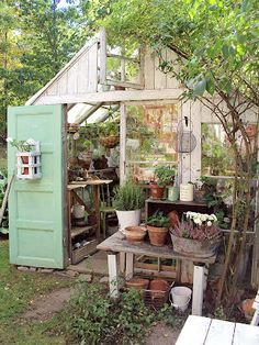 This greenhouse is so ME! Charming, rustic, a little messy and creative. Love!