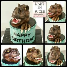 Gâteau figurine dinausore  T Rex en pâte à sucre (fondant) modelage à la main. Cake dinausor