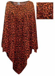 Orange Leopard Glittery Slinky Plus Size Supersize Poncho