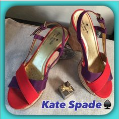 Kate Spadered & Purple Canvas Sandals