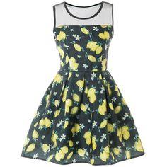 Sleeveless Mesh Insert Lemon Print Dress ($25) ❤ liked on Polyvore featuring dresses, mesh inset dress, sleeveless dress, no sleeve dress, pattern dress and print dresses