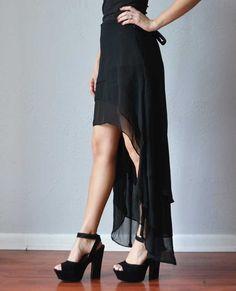 Black high low skirt | Asymmetrical Layered Black Skirt | LoveShoppingMiami.com