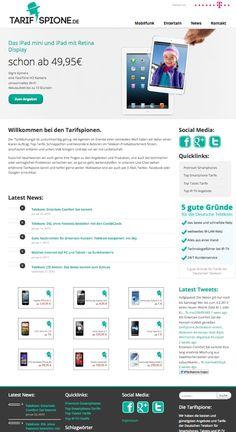 Unsere #Website #Tarifspione für aktuelle, billige #Tarife für #Smartphones #Tablets und #IP-TV #Entertain in Zusammenarbeit mit der #Telekom Ipad Mini, Smartphones, Psychics, Projects