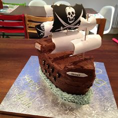 Pirate Ship Cake - includes directions for how to cut and assemble!