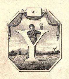 """WY"" (W) ~ Vintage Children's ABC Flash Card"