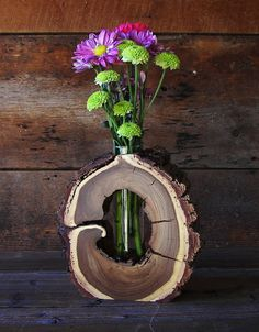 Rustic Hollow Log Vase Black Walnut Wood Home by TheRusticNature