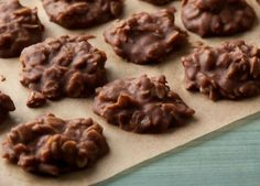 These delicious cookies can be made from ingredients you most likely already have, making holiday shopping that much simpler. Get the recipe for Peanut Butter-Chocolate No-Bake Cookies on Food Network. Köstliche Desserts, Delicious Desserts, Dessert Recipes, Yummy Food, Delicious Cookies, Plated Desserts, Yummy Yummy, Delish, How To Cook Liver