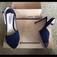 FLASH SALEPrada Asymmetrical Slingback Sz 39 Absolutely beautiful navy suede Prada slingbacks. Never worn but were a display model and are priced for condition. Straps have a small amount of dye transfer behind buckle as shown due to storage, small amount of handling apparent on suede, and mark on one heel as shown. Otherwise excellent! Comes with original box. Please ask any questions or request additional photos if you'd like - I want you to be happy with your purchase!  I do not model…