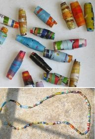 CHECK: Rolled Paper Beads, easy girl scout craft. When our troop made these, we rolled them around coffee stirrer straws- if they accidentally glued the bead to the straw, we just snipped the straw at the beads edge (leaving a piece of straw inside) and the bead was just fine