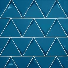 Pantone's Color of the Year: Classic Blue | Bedrosians Tile & Stone Glazed Ceramic Tile, Ceramic Wall Tiles, Mosaic Tiles, Blue Kitchen Tiles, Booth Seating In Kitchen, Metallic Wall Tiles, Triangle Wall, Tiles Online, Decorative Tile
