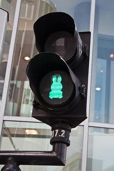 Miffy (Nijintje), a children's book character from the local artist Dick Bruna, on a traffic light in Utrecht, NL. Click image to tweet via slowottawa.ca and visit our boards >> http://www.pinterest.com/slowottawa/