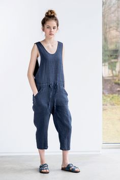 Loose Linen jumpsuit / Charcoal washed linen jumpsuit /