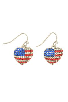 """Silver tone fishhook earrings featuring a heart with the American flag in red, clear, and blue rhinestones.Complies with safety regulations of lead and nickle components. In an election year, it's more important than ever to show pride in the USA. Then we have the Olympics as well, so these little earrings are a great way for you to show your love and support for America!    Dimensions:Approximately 1"""" in length, and 5/8"""" in width.   Patriotic Heart Earrings by Mimi's Gift Gallery…"""